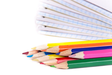 colored pencils and notepads