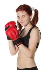 Girl in fighting gloves