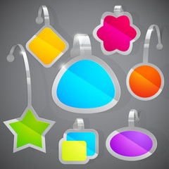 set of colorful advertising stickers.