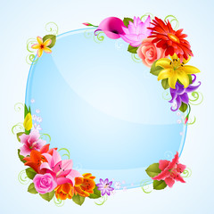 Wall Mural - greeting card with flowers
