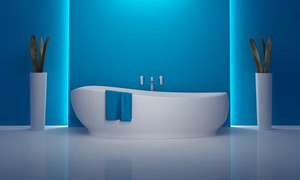 Bathroom minimal atmospheric blue