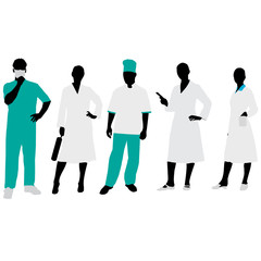 Medical people Silhouettes.Vector