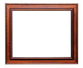Wooden frame for painting isolated over white