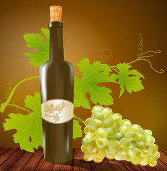 wine bottle and grapes on a brown background