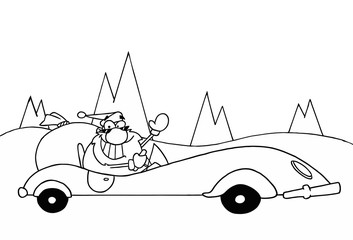 Outline Of Santa Driving A Convertible