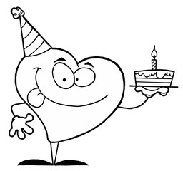 Black And White Coloring Page Outline Of A Heart Holding A Cake