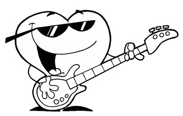 Black And White Coloring Page Outline Of A Heart Guitarist