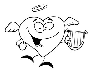 Black And White Coloring Page Outline Of A Heart Angel