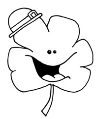 Outlined Happy Shamrock Cartoon Character