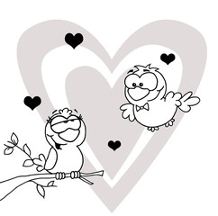 Outlined Mascot Cartoon Character Pair of Love Birds