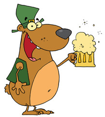 Happy And Intoxicated Bear In Green, Drinking Beer