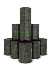 Diesel black cans in pyramid