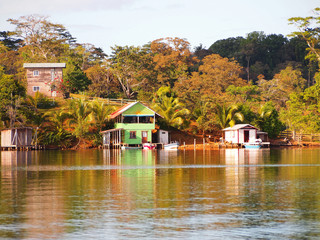 Caribbean house over the sea in the village of Bocatorito, San Cristobal island, Bocas del Toro, Panama