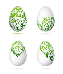 Easter eggs white with floral ornament for your design