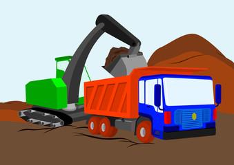 Truck and excavator