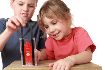Brother and sister play with  little guillotine, focus on sister