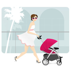A pregnant mother with a stroller in a shopping mall