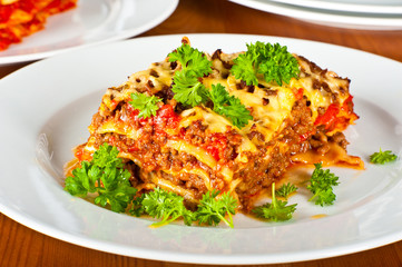 Plate with lasagne