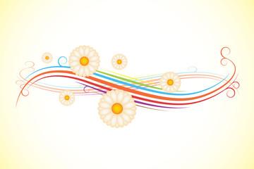 Vector floral backround with color stripes - illustration