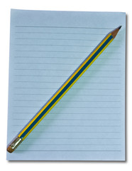 The Paper with pencil isolated on with background