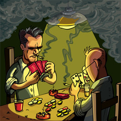 Cartoon of two men playing cards