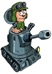 Aluminium Prints Military Cartoon soldier in a small tank