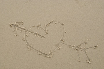Heart drawn on sand.
