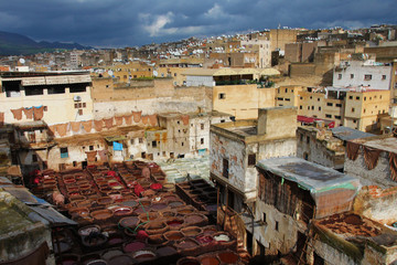 View of tannery in Fez, Moroccan royal city