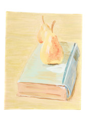 Art with pears and old book.
