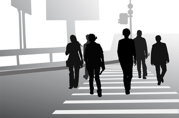 Group of people crossing the road, black silhouettes