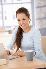 Attractive female browsing internet at home
