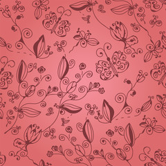 Pink ornate floral seamless pattern with butterflies