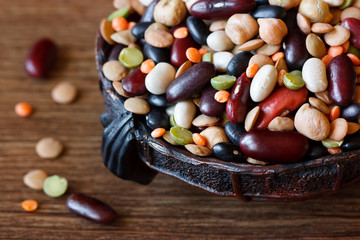 Mix of varied types of haricot beans, peas and lentil.