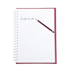 list to do word with pencil on the booklet