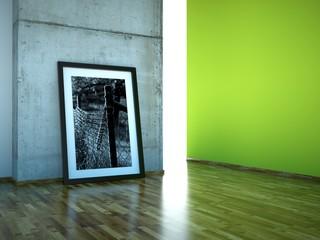 Atelier Bild vor Betonwand grün
