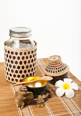 Thai style set of honey isolated on white background