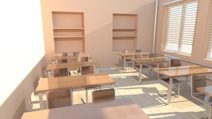 Empty classroom 3d Image