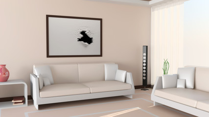 Modern Living Room. 3d Image