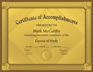 Certificate of Accomplishment Template