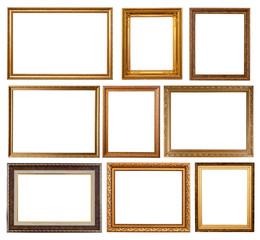 Set of 9 gold frames