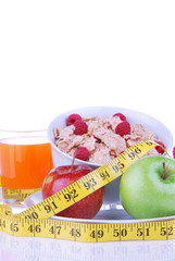 Diet tape measure apple flakes juice