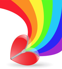 rainbow bends of red heart with fastener