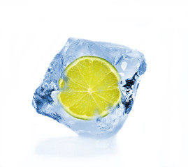 SLice of lime in ice cube