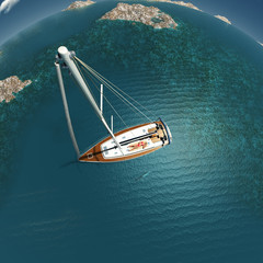 woman relaxing on yacht, aerial view