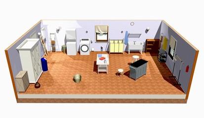 Lavanderia Stanza-Laundry Room-3D