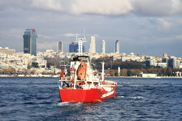 Red coaster ship in Bosporus Sea, Istanbul