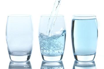 Stream of water falling in glass