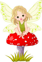 Canvas Prints Fairytale World Baby Fairy on the Mushroom