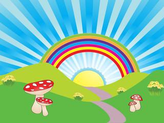 Photo sur Plexiglas Monde magique Rainbow landscape