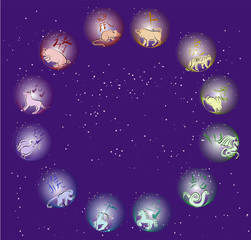 Chinese horoscope in circle. Coloured.
